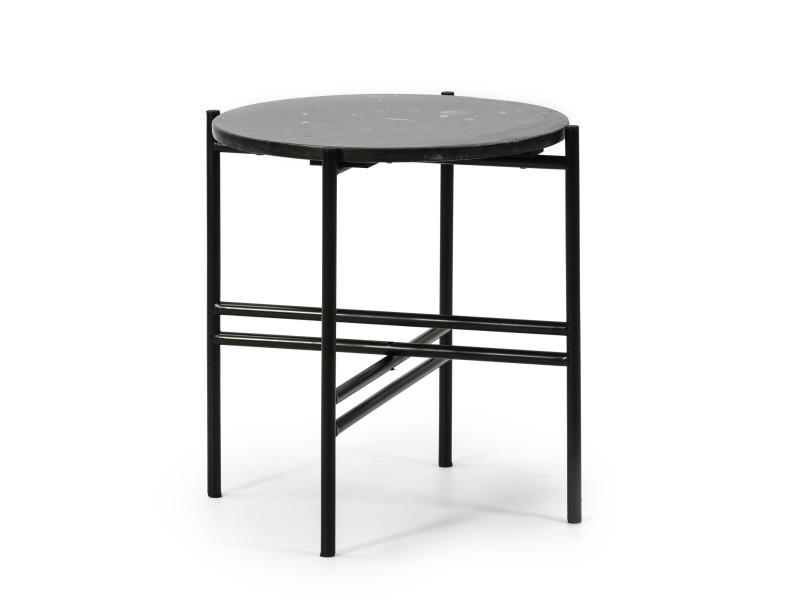 Table basse ronde bombai avec plateau en marbre noir et pieds métalliques en noir mat/diamètre: 41cm