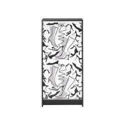 Meuble à chaussures à rideau noir - shoes n°2 - l 58 x l 36 x h 121 - neuf