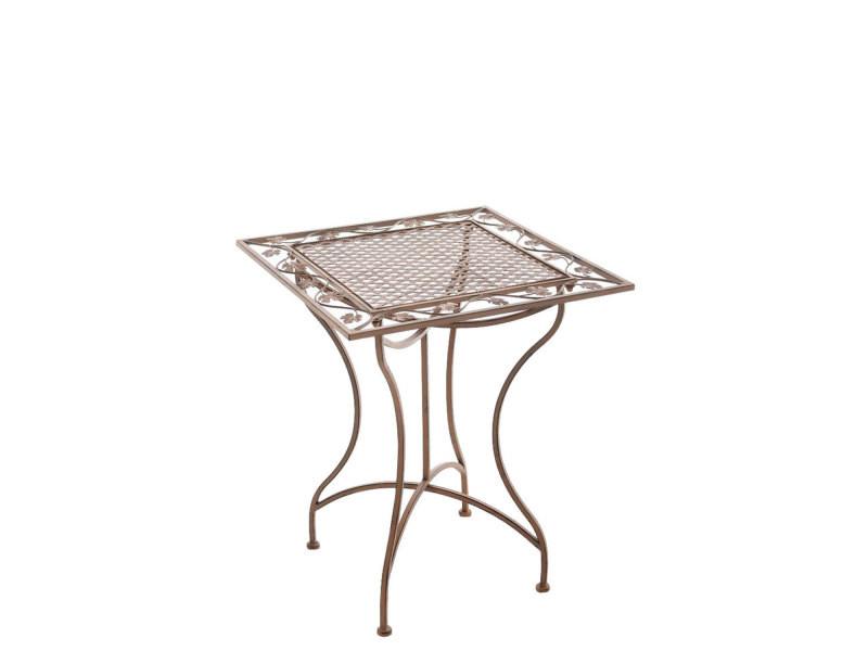 Table de jardin en fer forgé asina 60 x 60 cm , marron antique