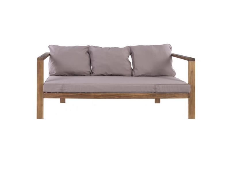 Canapé d'extérieur 3 places en bois d'acacia - tautira - l 174 x l 75 x h 68 - neuf