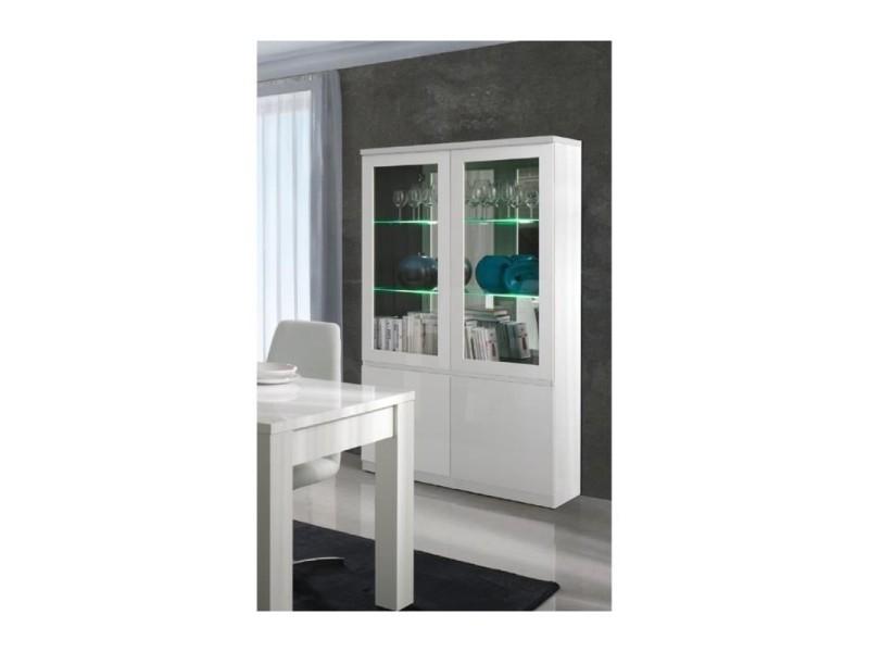 Vitrine, vaisselier, argentier fabio blanc brillant high gloss + led. Meuble design pour votre salon ou salle à manger.