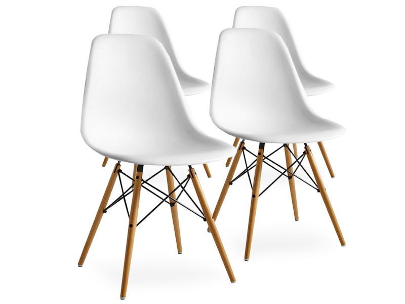 Lot de 4 chaises scandinaves blanches style eiffel