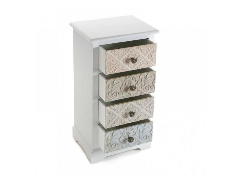 commode blanche 4 tiroirs baroque mosela 20100865709 conforama. Black Bedroom Furniture Sets. Home Design Ideas