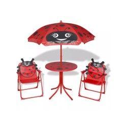 Vidaxl jeu de mobilier jardin pour enfants 4 pcs rouge