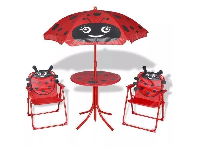 Vidaxl jeu de bistro avec parasol pour enfants rouge 41842