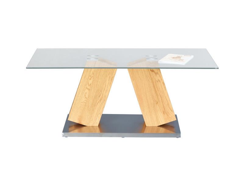 Table basse onan imitation chêne et plateau en verre