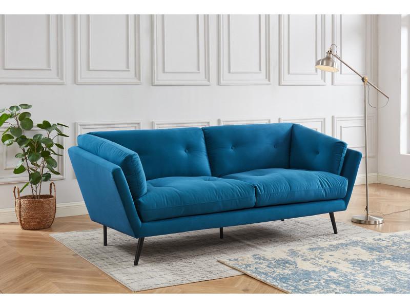 canapé moderne 3 places en velours bleu  collection