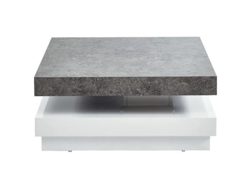 Table basse vegas table basse pivotante contemporain effet béton et blanc laqué brillant - l 75 cm