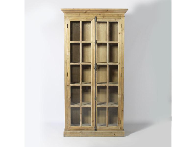 Biblioth que vitr e bois massif petits carreaux 2 portes - Petite bibliotheque bois ...