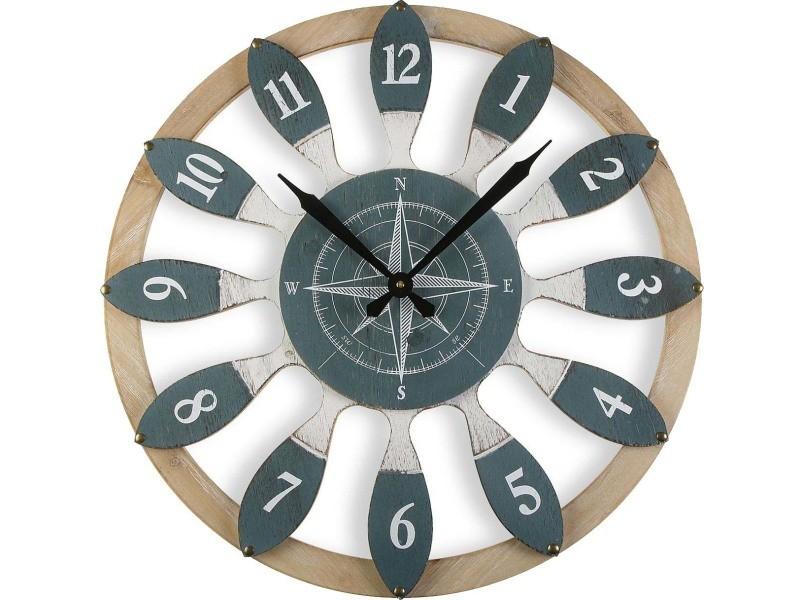 Horloge en bois points cardinaux 60 cm
