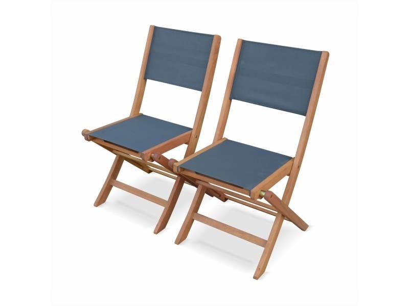 Lot de 2 chaises de jardin en bois almeria, 2 chaises pliantes eucalyptus fsc huilé et textilène gris anthracite