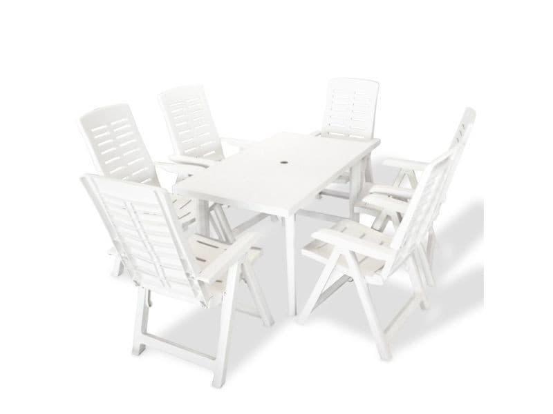 Vidaxl jeu de salle à manger d'extérieur 7 pcs 126 x 76 72 cm blanc 275075