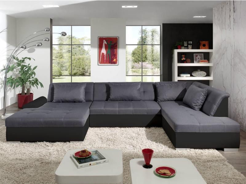 Utah - canapé d'angle panoramique xxl en u - convertible - en simili et tissu - droit couleur - noir / gris