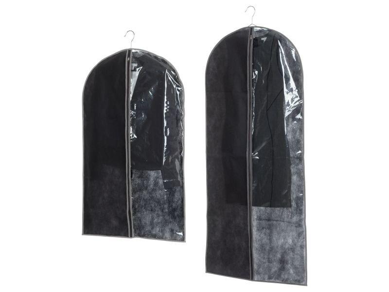 Lot 2x 2 housses pour costume - 135 x 60 et 100 x 60 cm - noir et taupe