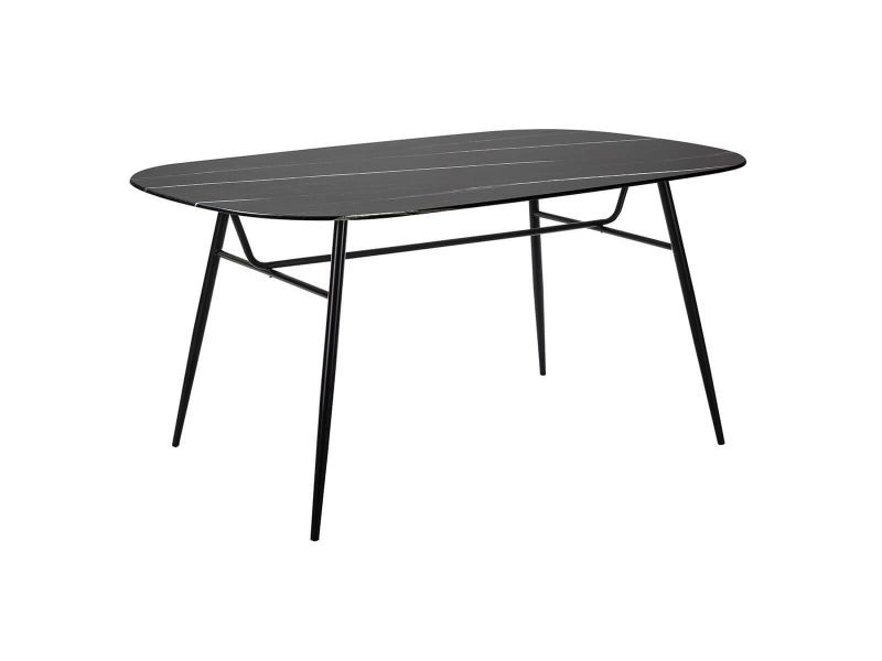 Oliana - table repas 160cm plateau noir verre effet marbré