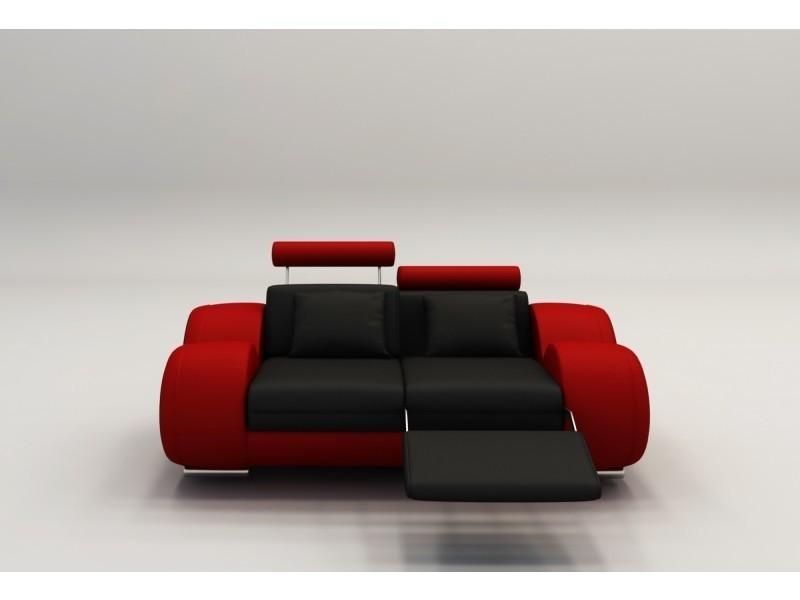 Canapé 2 places design relax oslo en cuir noir et rouge-