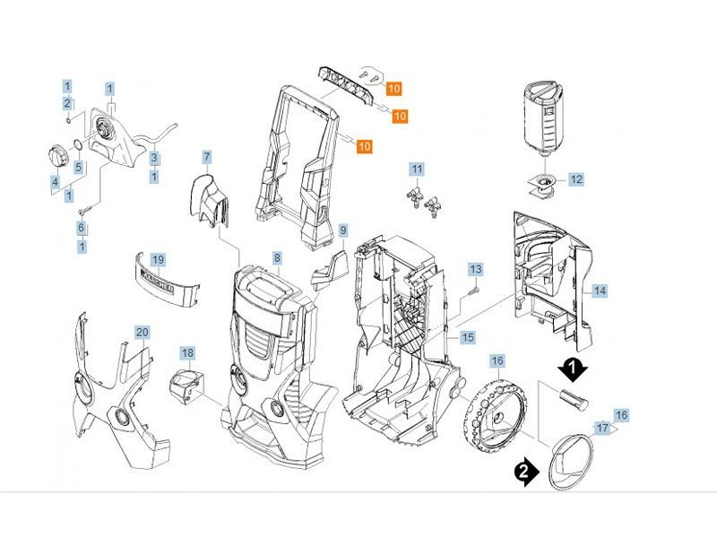 Poignee complet rep10 pour nettoyeur haute-pression karcher - 90127170