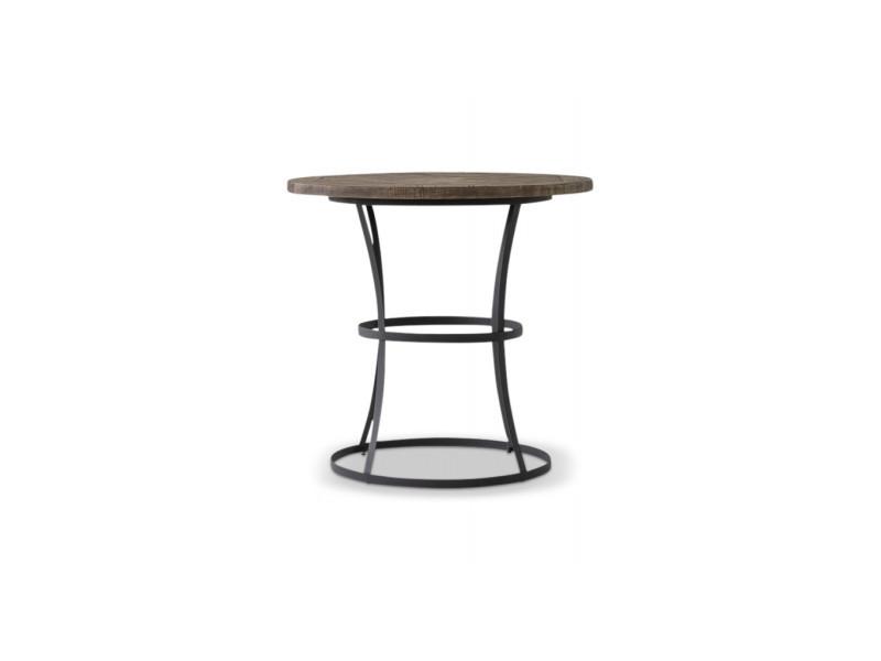 Table haute bois fer forgé 110x110x105cm - marron - décoration d'autrefois