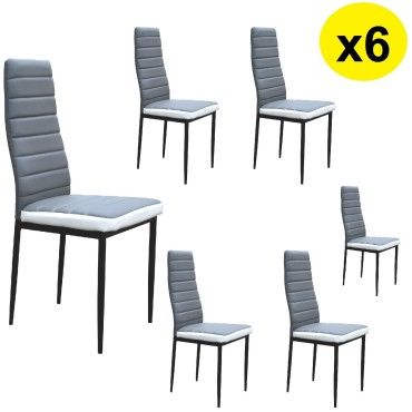 lot de 6 chaises coloris blanc gris flash conforama. Black Bedroom Furniture Sets. Home Design Ideas