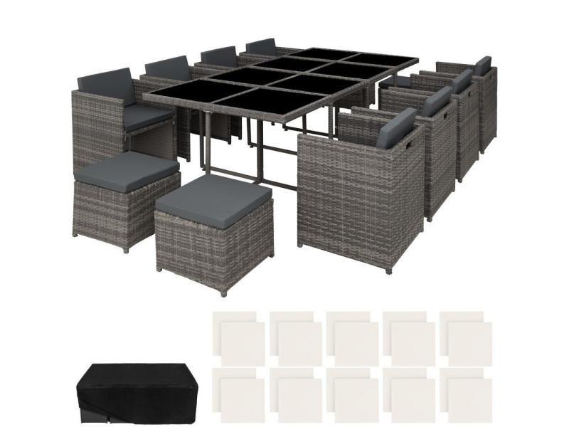 Salon de jardin rotin résine tressé synthétique 12 places avec 2 sets de housses + housse de protection gris helloshop26 2108088