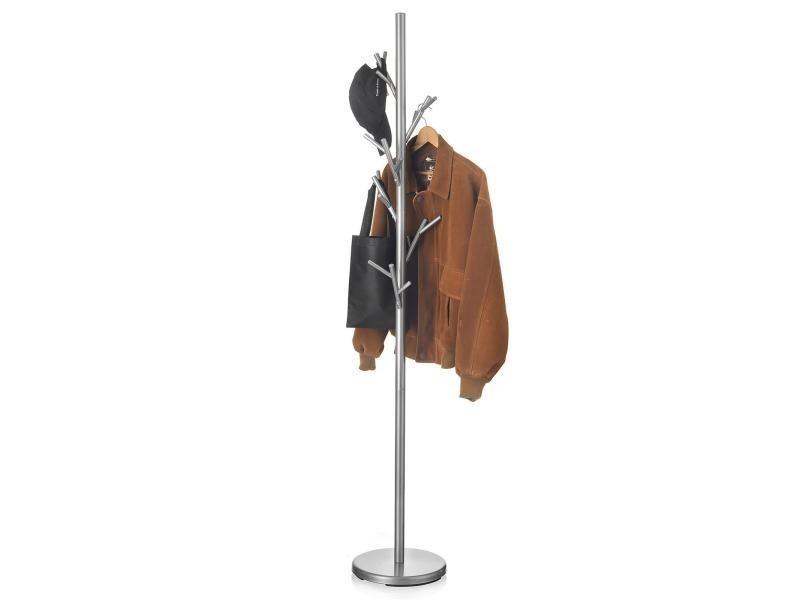 Porte-manteaux zeno portant à vêtements sur pied en forme d'arbre avec 6 crochets sur différentes hauteurs, en métal laqué gris