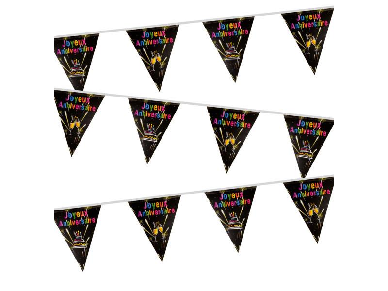 Lot de 10 guirlandes avec fanions plastifiés recto / verso joyeux anniversaire - 7m