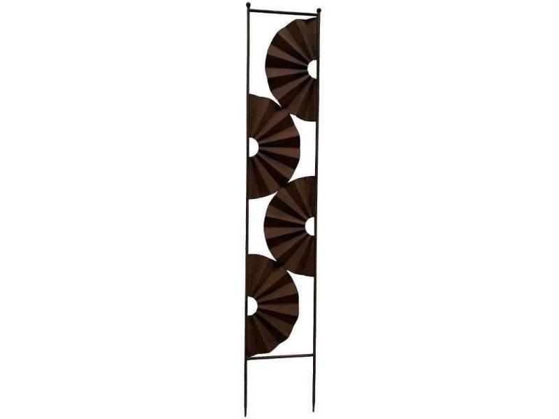 Treillis astra grande grille décorative motifs floraux en métal marron 23x126cm