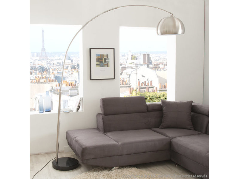 Lampadaire Forme Arc En Metal Chrome Pied Marbre Big Sofa Conforama