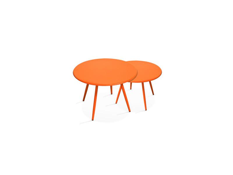 Tables basses de jardin en métal, palavas acier orange