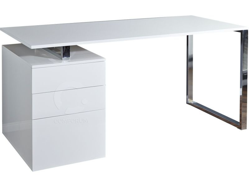 bureau blanc laqu design avec tiroirs vente de. Black Bedroom Furniture Sets. Home Design Ideas