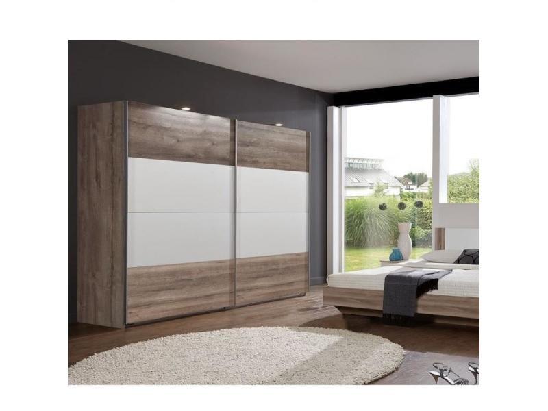 Armoire eva portes coulissantes largeur 270 cm chêne châtaigne / blanc 20100889728
