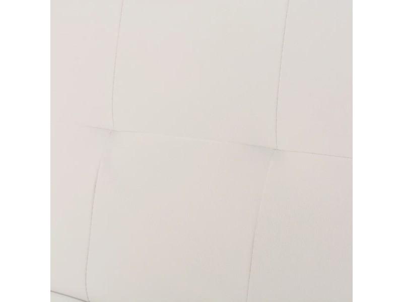 Vidaxl canapé-lit réglable avec 2 oreillers cuir synthétique blanc crème 241723