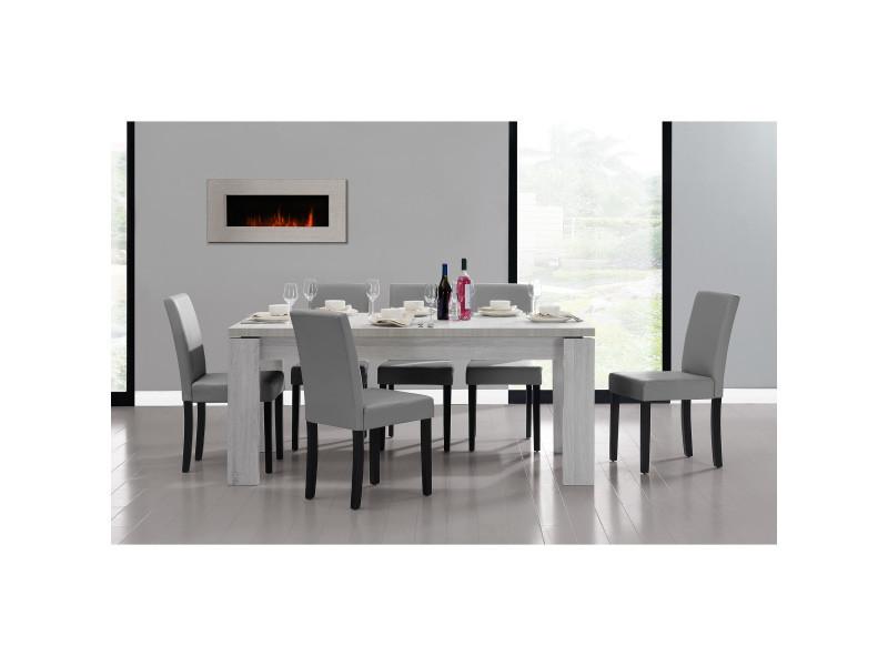 [en.casa] table et jeu de chaises 'helsinki' (blanc - 170 x 79) 6 chaises (rembourrées - gris clair) - en pack économique