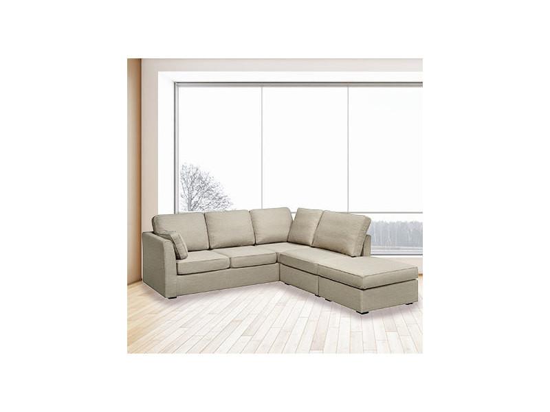 Canapé d'angle convertible 6cm en microfibre gris - charles