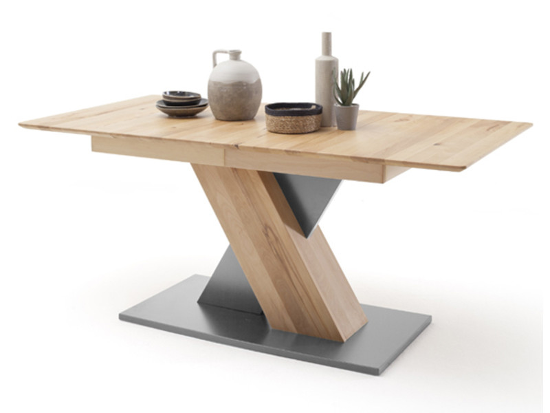 Table à manger extensible en hêtre massif / gris - l.140-185 x h.77 x p.90 cm -pegane- PEGANE