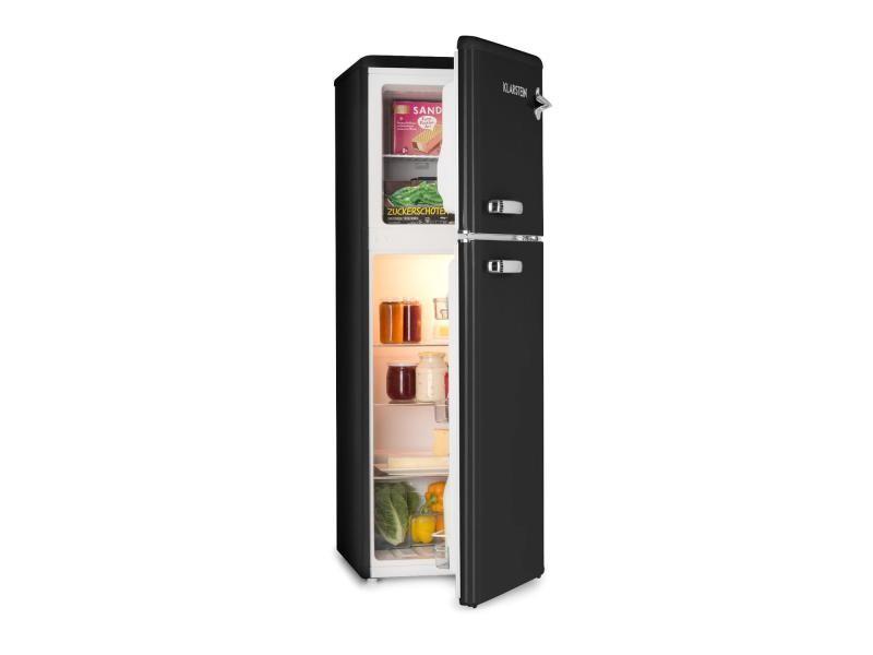 Klarstein audrey combiné réfrigérateur congélateur haut ( 97l + 39l ) - 41 db - classe a+ - look rétro noir