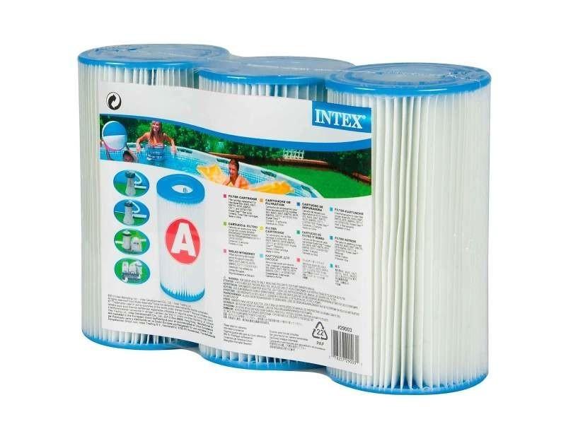Piscine cartouche filtre dacron a intex. Filtre dacron a : 20 x 11 cm. Lot de 3 cartouches.
