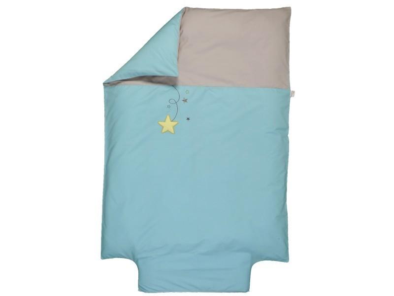 Housse de couette p'tit basile 100x140 cm pluie d'étoiles turquoise