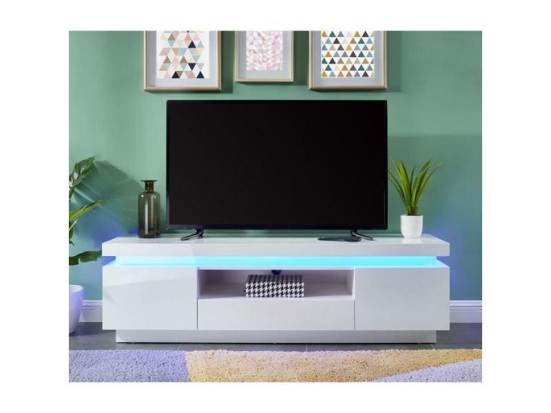 Meuble tv - meuble hi-fi flash meuble tv avec led contemporain blanc laqué brillant - l 165 cm