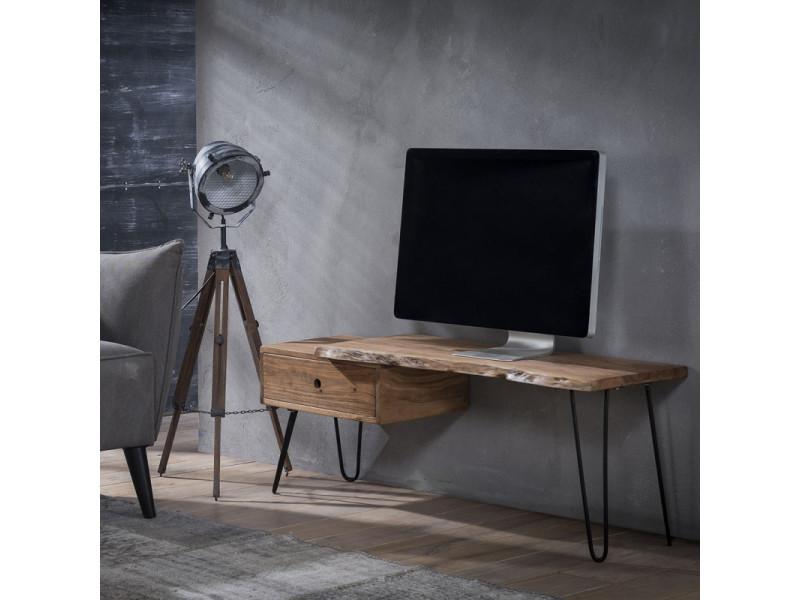 Meuble tv vintage en bois d'acacia sur piétement en acier sophie