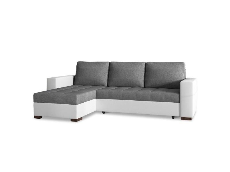 Canapé d'angle convertible réversible alvaro gris et blanc
