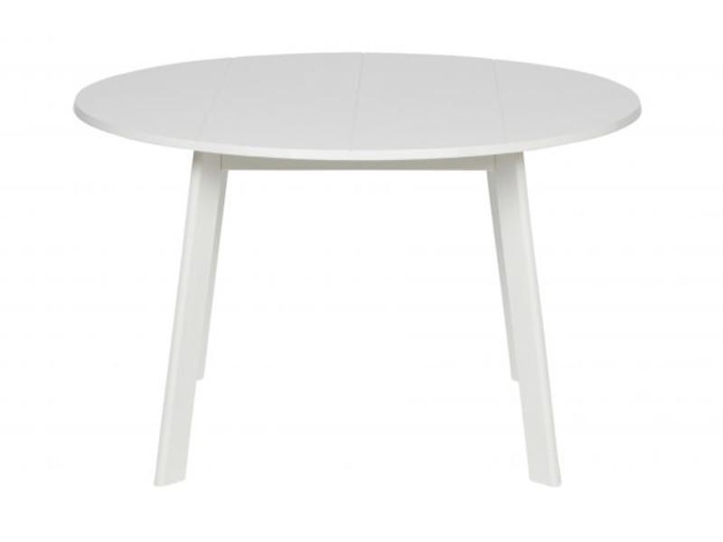 Table coloris blanc en bois de frêne - dim: 74 x 120 x 120 cm -pegane-