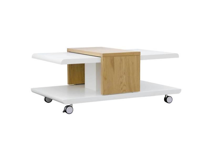 Table basse joliet blanc et imitation chêne avec plateau coulissant