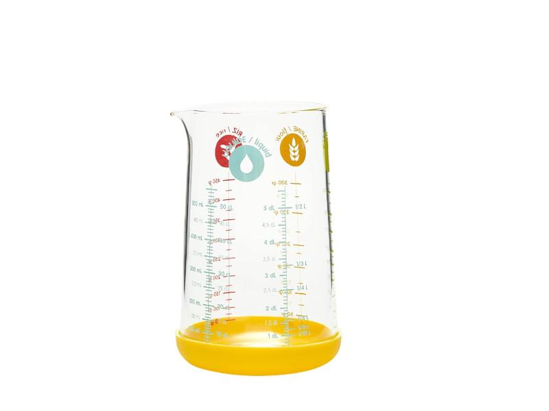 Pichet doseur 0.5 l en verre et silicone jaune