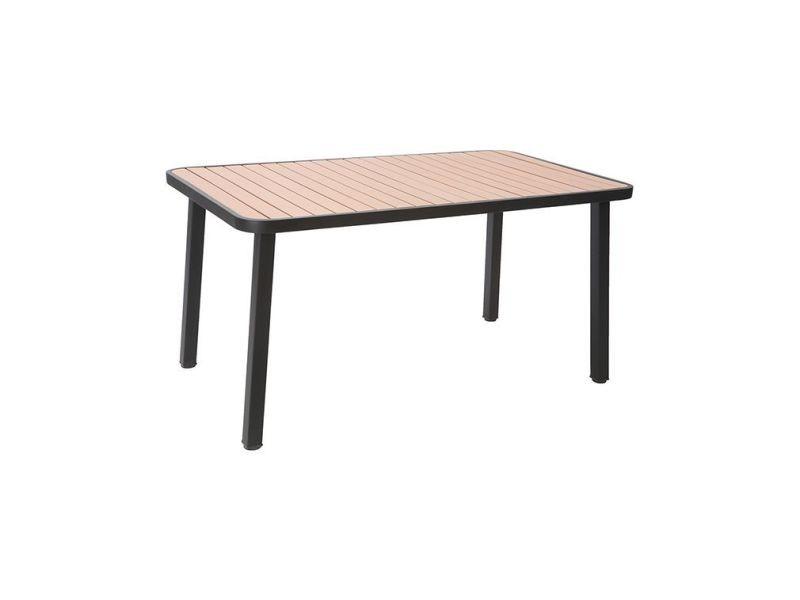 4 Métal Table Et Salon Avec De Jardin Chaises Empilables Bois A54RjL