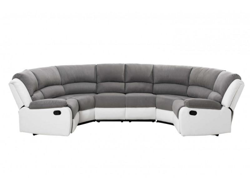 Canapé de relaxation panoramique 8 places detente - blanc / gris 9121UPUBLMFGR