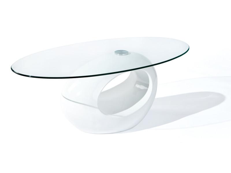 Table basse de salon d´appoint oval design moderne verre securit pied rond blanc