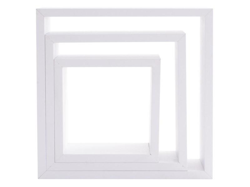 Kit de 3 étagères murales cube blanc