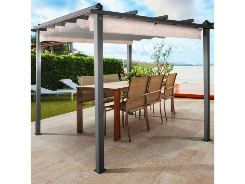 pergola toit r tractable crue tonnelle 4 pieds 3x3m vente de id market conforama. Black Bedroom Furniture Sets. Home Design Ideas