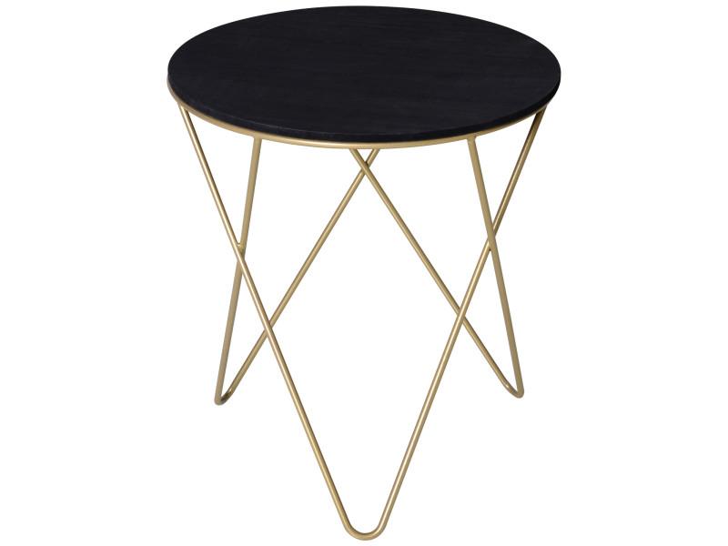 Table basse ronde design style art déco ø 43 x 48h cm mdf noir métal doré